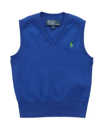 V-Neck Sweater Vest, Blue, 9-24 Months
