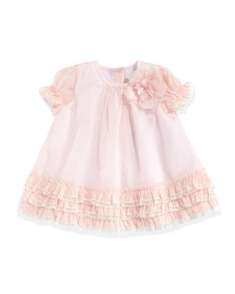 Silk/Cotton Ruffle Dress, Pink, 3-12 Months