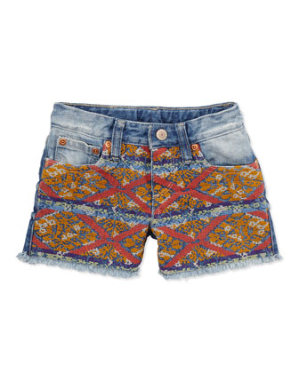 Embroidered Denim Shorts, 2T-3T