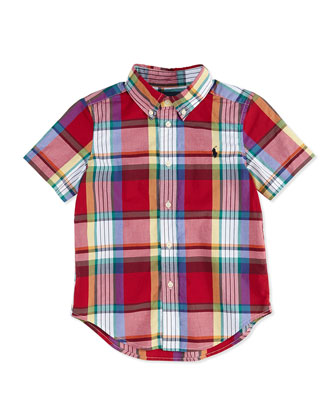 Blake Plaid Short-Sleeve Shirt, Red, Boys'
