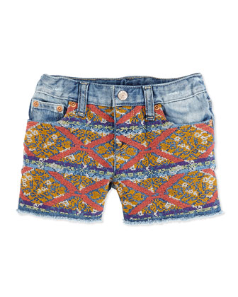 Embroidered Denim Shorts, Girls' 4-6X