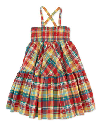Smocked Plaid Dress, Red, Girls' 4-6X