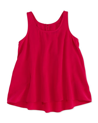 Georgette-Silk Tank, Pink, Girls' 4-6X