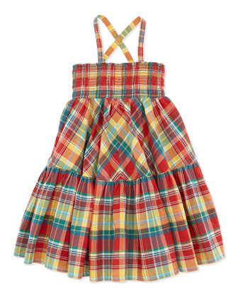 Smocked Plaid Dress, Red, Toddler Girls' 2T-3T