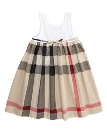 Ribbed Tank Combo Dress, White, Girls' 4Y-10Y