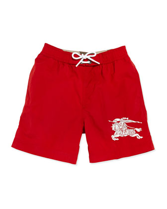 Nylon Equestrian Knight Swim Trunks, Red, Boys' 4Y-10Y