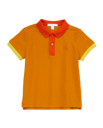 Colorblock Pique Polo, Orange