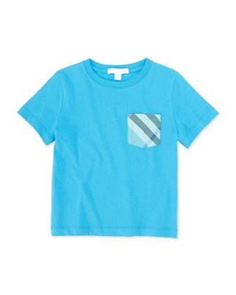 Check-Pocket Jersey Tee, Blue, Boys' 4Y-10Y
