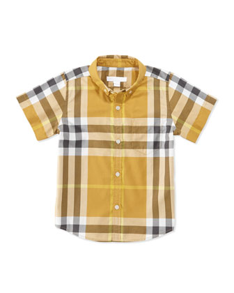 Short-Sleeve Check Shirt, Brown, Boys' 4Y-10Y