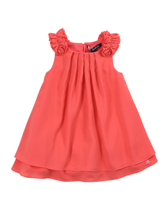 Lias Pleated Crepe Dress, Papaye, 2Y-6Y