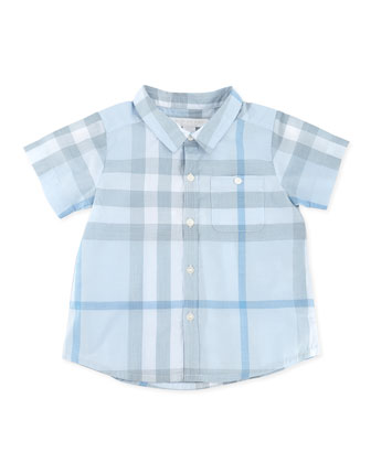 Short-Sleeve Check Shirt, Blue, 3-24 Months
