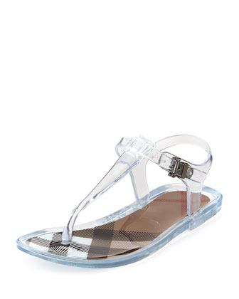 Jelly Thong Sandals, White,Youth