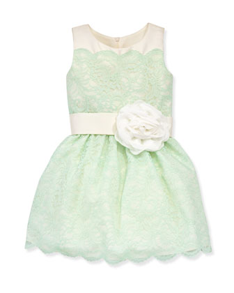 Peppermint Lace-Overlay Party Dress, Sizes 8-10