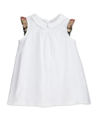 Flutter-Check-Sleeve Dress, White, 3M-2Y