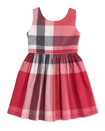 Check Dress with Back Bow, Pink, Girls' 4Y-10Y