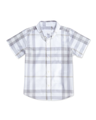 Short-Sleeve Check Shirt, White, Boys' 4Y-10Y