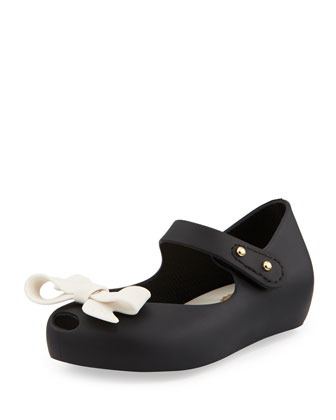 Mini Ultragirl Bow Jelly Flats, Black, Girls' Sizes 5-10