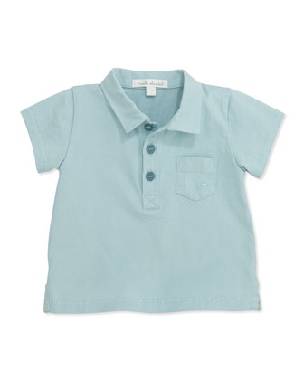 Jersey Pocket Polo Shirt, Blue, 6-24 Months