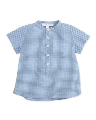 Check Collarless Poplin Shirt, Blue, 6-24 Months