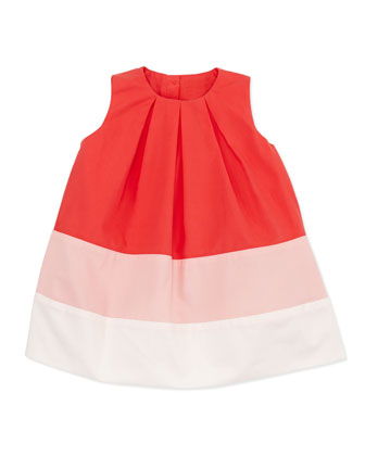 Colorblock Pleated Dress, Pink, 6-24 Months