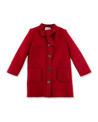 Bow-Collar Long Jacket, Sizes 4-6