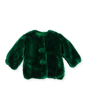 Faux-Fur Large-Button Coat, Emerald, Size 8