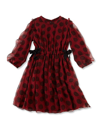 Long-Sleeve Dot Silk Dress, Red/Black, Size 6