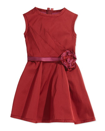Rosette-Detailed Fit-and-Flare Dress, Dark Red, Sizes 4-6