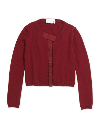 Grosgrain-Bow Knit Cardigan, Sizes 4-6