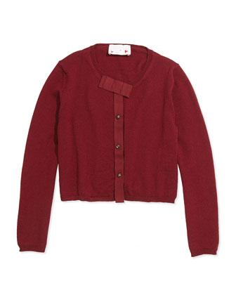 Grosgrain-Bow Knit Cardigan, Sizes 8-12