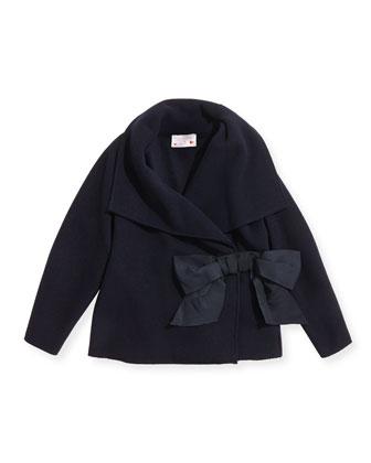 Asymmetric Jacket with Bow, Navy, Size 6
