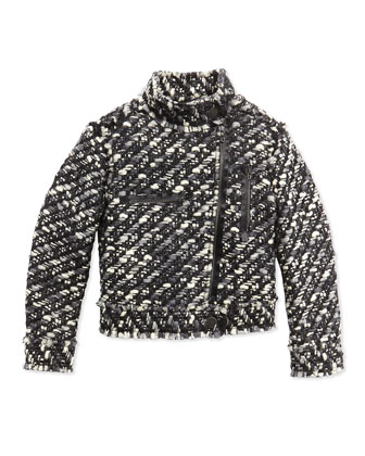 Tweed Moto Jacket, Black/White, Sizes 8-12