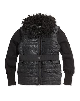 Faux-Fur Collar Puffer Vest, Black, Sizes 8-12