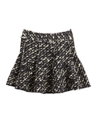 Tweed Skirt, Black/White, Girls' 10-12