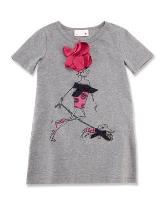Girls' Printed Wool Tee, Light Gray, Sizes 8-12