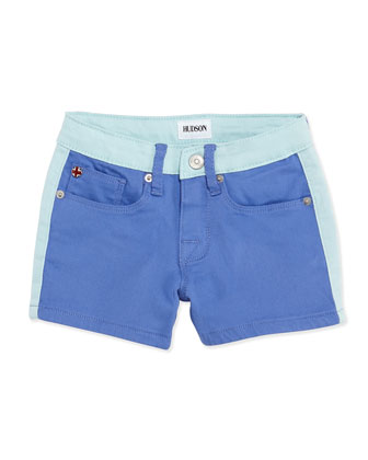 Leeloo Colorblock Denim Shorts, Provence, Girls' 4-6X
