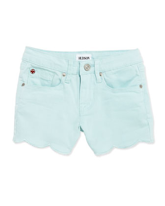 Scalloped Hem Denim Shorts, Blue, Girls' 8-10