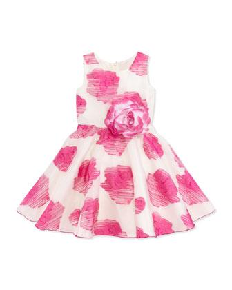 Rose-Print Organza Dress, Pink, Sizes 2-6