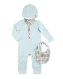 Carina Boxed Playsuit, Hat & Bib Set, Light Blue, 1-18 Months
