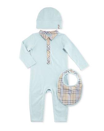 Boxed Playsuit, Hat & Bib Set, Light Blue, 1-18 Months