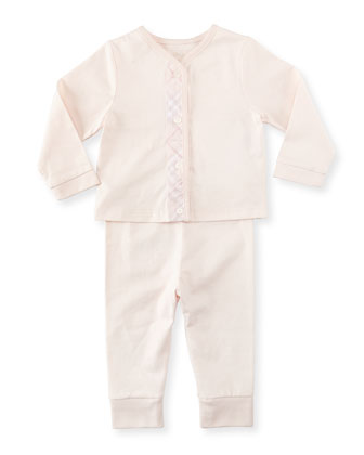 Check-Trim Knit Pajamas, Pink, 3-18 Months