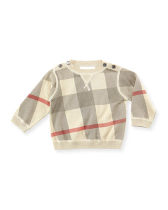 Check Crewneck Sweater, Taupe, 6-18 Months