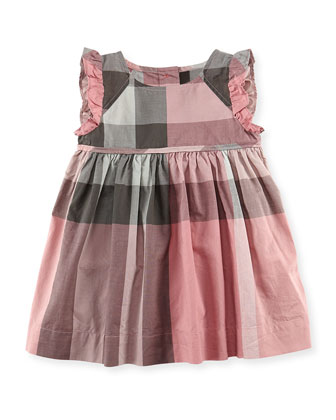 Check Ruffle-Trim Dress, Light Pink, 3-18 Months