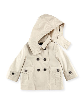 Double-Breasted Hooded Jacket, Stone, 6M-2Y