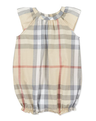 Check Ruffled Playsuit, Taupe, 3-18 Months