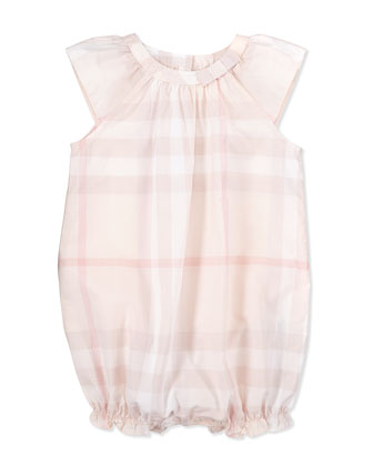 Check Ruffled Playsuit, Pink, 3-18 Months