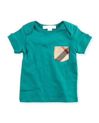 Check-Pocket Crewneck Tee, Green, 18M-3Y