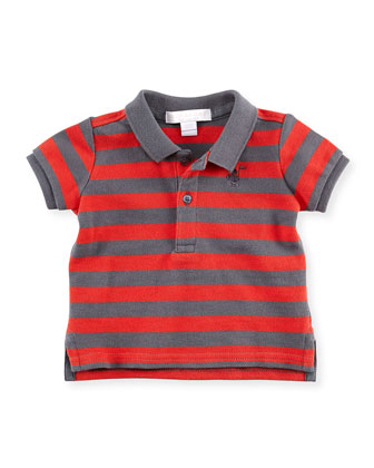 Striped Polo Shirt, Gray/Red, 2Y-3Y
