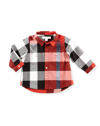 Large Check Button-Down Shirt, Red, 3M-18M