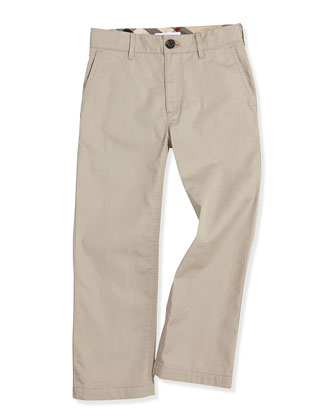 Cotton Twill Trousers, Taupe, Boys' 6Y-10Y